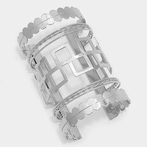 Wide metal cage cuff bracelet